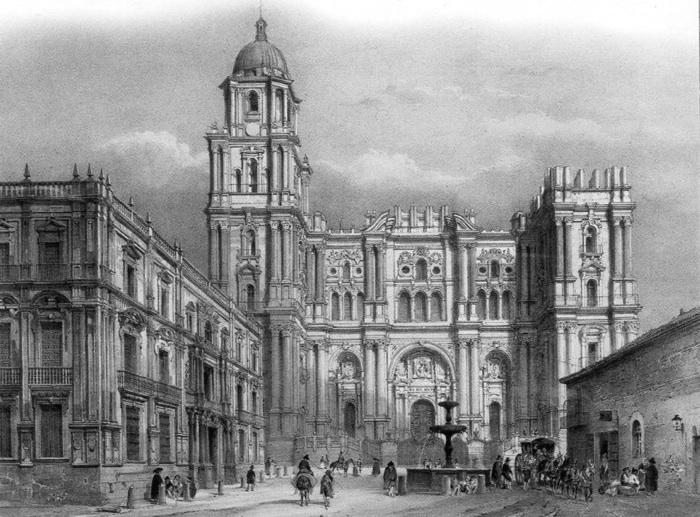 dibujo alzado catedral y plaza del obispo litografia chapuy 1850 - copia